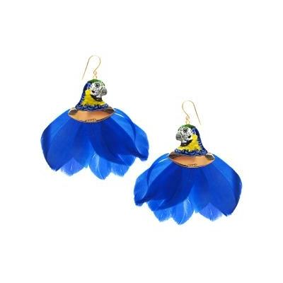 """Boucles d'oreilles Tête de Perroquet Bleu avec plumes """"FRIDA KAHLO"""" - NACH"""