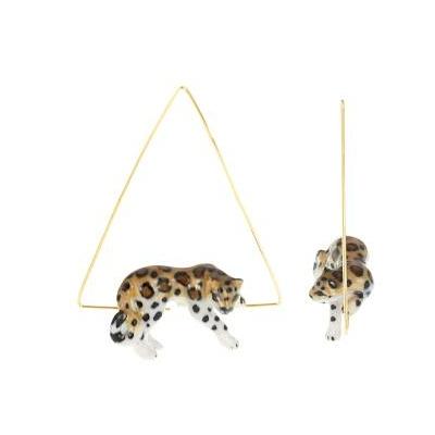 Boucles d'Oreilles Créole Triangle Léopard se reposant - NACH