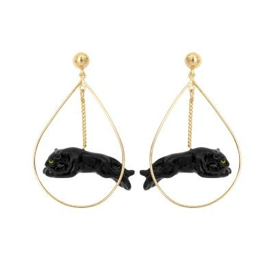 Boucles d'oreilles Panthère noire bondissante - NACH