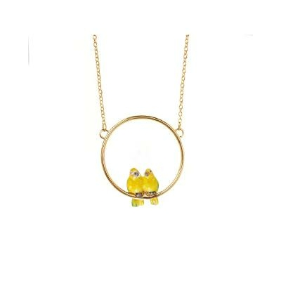 "Mini collier rond Couple de Perroquets ""IZAMAL"" - NACH"