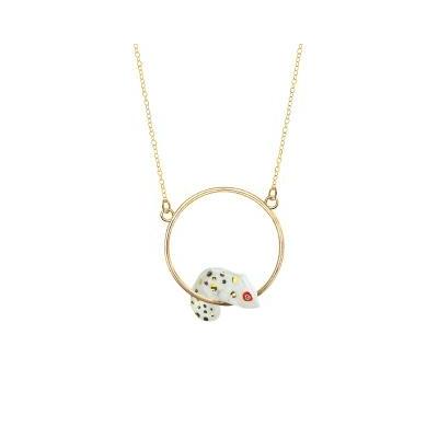 "Mini collier rond Caméléon Blanc & Doré ""OAXACA"" - NACH"