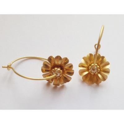 Boucles d'oreilles mini créoles fleurs et perle fine mod1 - La Belle Simone Bijoux