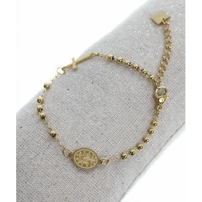 Bracelet croix petit medaillon médaillon madone doré acier inoxydable - Mile Mila