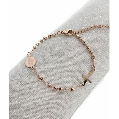 Bracelet croix petit médaillon madone or rose acier inoxydable - Mile Mila