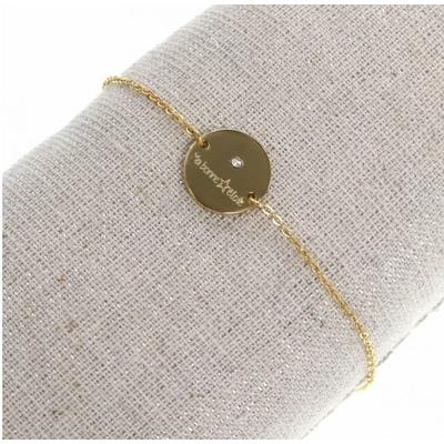 Bracelet médaille bonne étoile et brillant doré acier inoxydable - Mile Mila