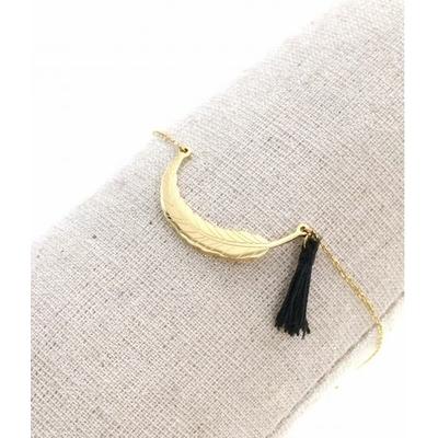 Bracelet plume doré et pompon acier inoxydable - Mile Mila
