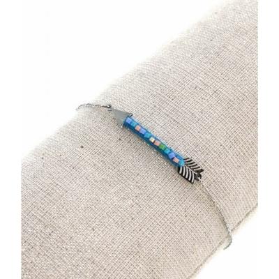 Bracelet flèche et perles bleus argent pendentif acier inoxydable - Mile Mila
