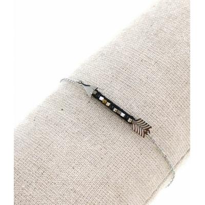 Bracelet flèche et perles noires argent pendentif acier inoxydable - Mile Mila