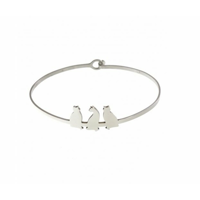 Bracelet jonc 3 chats argent acier inoxydable - Mile Mila