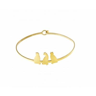 Bracelet jonc 3 chats doré acier inoxydable - Mile Mila