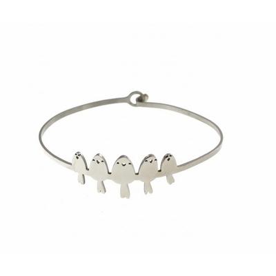 Bracelet jonc 5 oiseaux argent acier inoxydable - Mile Mila