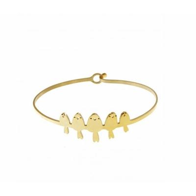Bracelet jonc 5 oiseaux doré acier inoxydable - Mile Mila