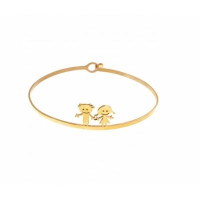 Bracelet jonc 1 garçon 1 fille  doré acier inoxydable - Mile Mila