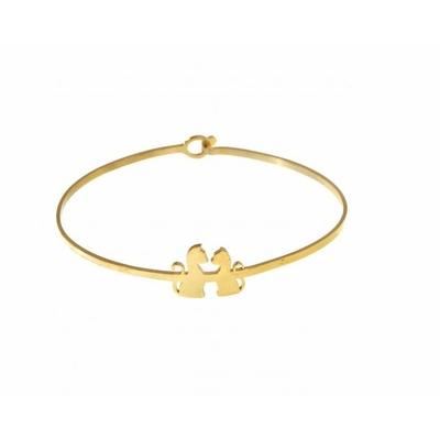 Bracelet jonc 2 chats doré acier inoxydable - Mile Mila