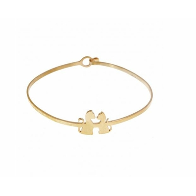 Bracelet jonc 2 chats or rose acier inoxydable - Mile Mila