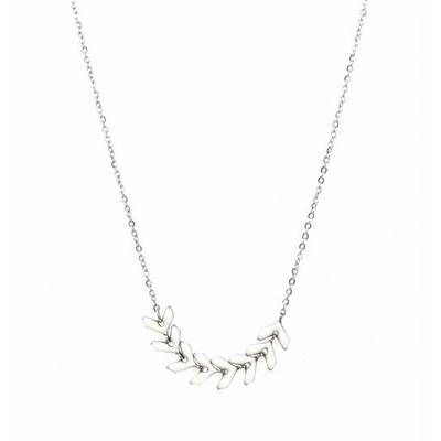 Collier épi de blé blanc argent pendentif acier inoxydable - Mile Mila