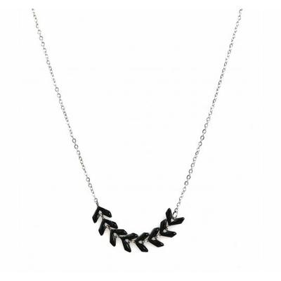 Collier épi de blé noir argent pendentif acier inoxydable - Mile Mila