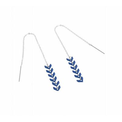 Boucles d'oreilles épi de blé bleu argent pendentif acier inoxydable - Mile Mila
