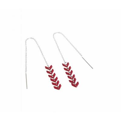 Boucles d'oreilles épi de blé rouge argent pendentif acier inoxydable - Mile Mila