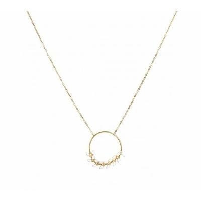 Collier épi de blé blanc sur cercle argent acier inoxydable - Mile Mila