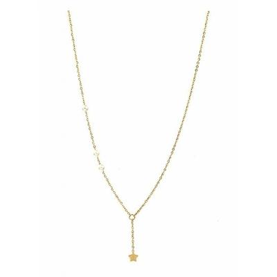 Collier étoile avec 3 perles doré acier inoxydable - Mile Mila