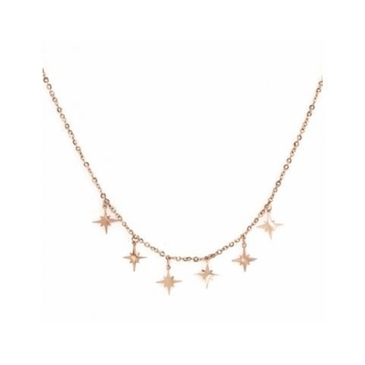Collier multi étoiles filantes or rose acier inoxydable Mile Mila