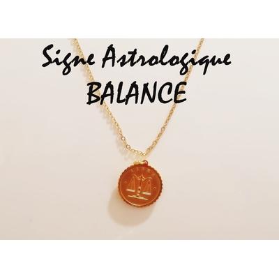 Collier signe astrologique BALANCE acier inoxydable doré - Mile Mila