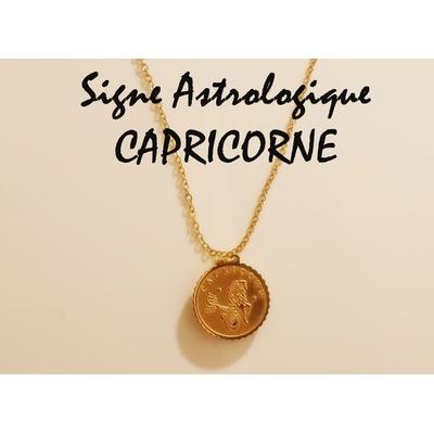 Collier signe astrologique CAPRICORNE acier inoxydable doré - Mile Mila