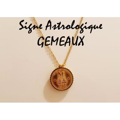 Collier signe astrologique GÉMEAUX acier inoxydable doré - Mile Mila