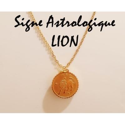 Collier signe astrologique LION acier inoxydable doré - Mile Mila