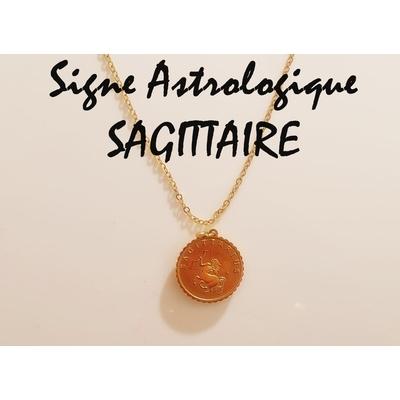 Collier signe astrologique SAGITTAIRE acier inoxydable doré - Mile Mila