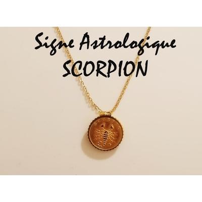 Collier signe astrologique SCORPION acier inoxydable doré - Mile Mila