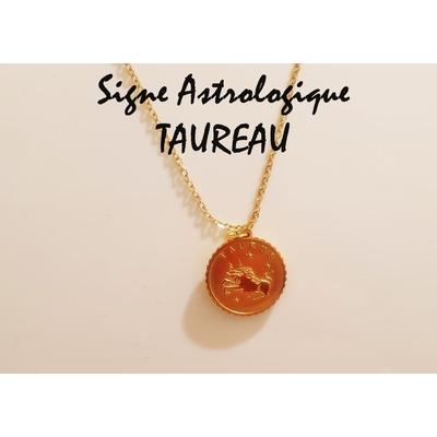 Collier signe astrologique TAUREAU acier inoxydable doré - Mile Mila