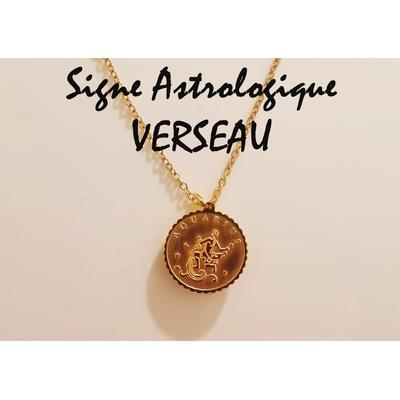 Collier signe astrologique VERSEAU acier inoxydable doré - Mile Mila