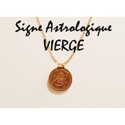 Collier signe astrologique VIERGE acier inoxydable doré - Mile Mila