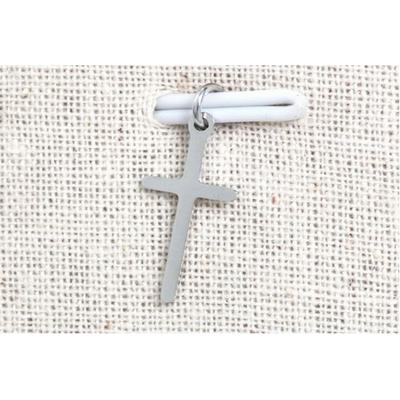 Pendentif croix argent acier inoxydable - Mile Mila