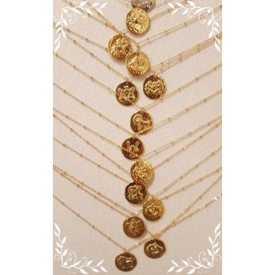 Collier médaille signe astrologique/zodiacal acier inoxydable doré - La Belle Simone Bijoux