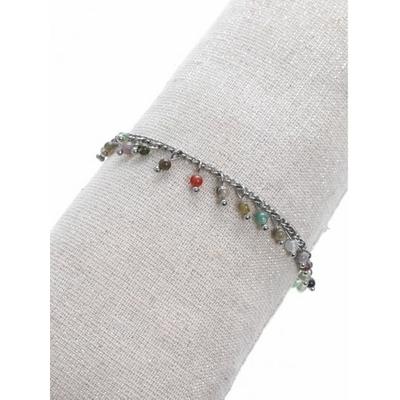 Bracelet pampilles pierres multi-couleurs argent acier inoxydable - Mile Mila