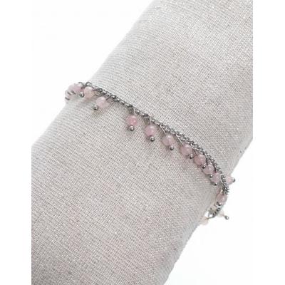 Bracelet pampilles pierres roses argent acier inoxydable - Mile Mila