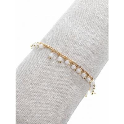 Bracelet pampilles pierres blanches doré acier inoxydable - Mile Mila