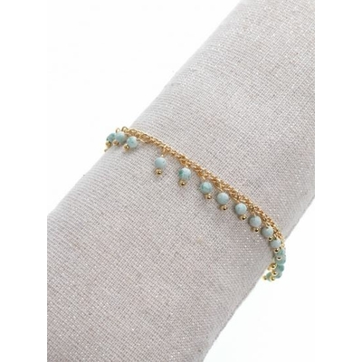 Bracelet pampilles pierres vertes doré acier inoxydable - Mile Mila