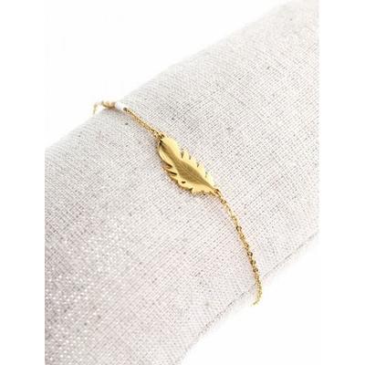 Bracelet plume dorée perles blanches acier inoxydable - Mile Mila