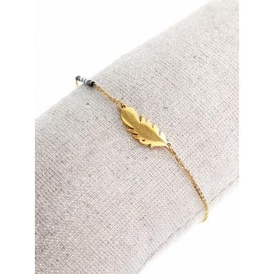Bracelet plume dorée perles noires acier inoxydable - Mile Mila