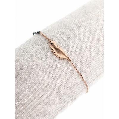 Bracelet plume or rose perles noires acier inoxydable - Mile Mila