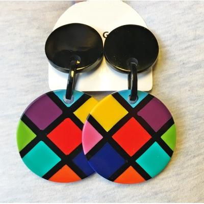 Boucles d'oreilles clips damier multi-couleurs résine Marion Godart