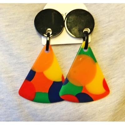 Boucles d'oreilles clips pop triangle résine Marion Godart
