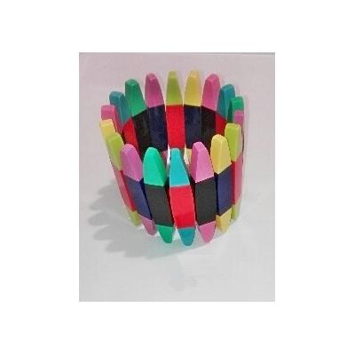 Bracelet élastiqué canoë multi-couleurs résine Marion Godart