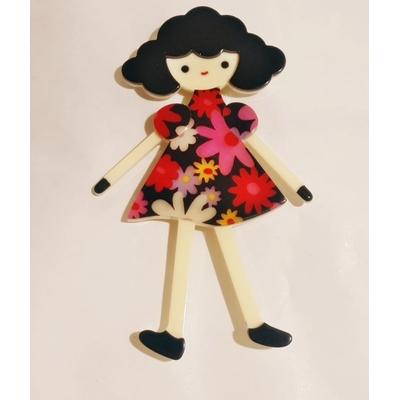 Broche fillette robe rouge à fleurs résine Marion Godart