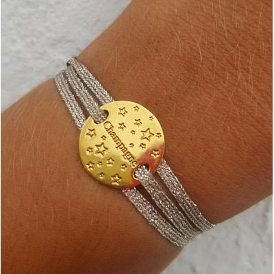 bracelet  médaille CHAMPAGNE plaqué or 3 brins argent clair LA BELLE SIMONE