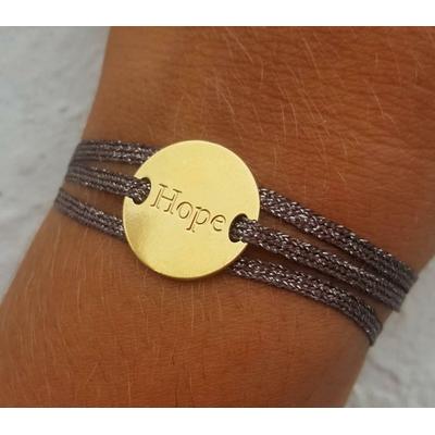 bracelet médaille HOPE plaqué or jaune 3 brins chocolat doré LA BELLE SIMONE